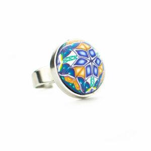 Anillo, artesanal, artesanía, millefiori, caleidoscopio, colores, azul, añil