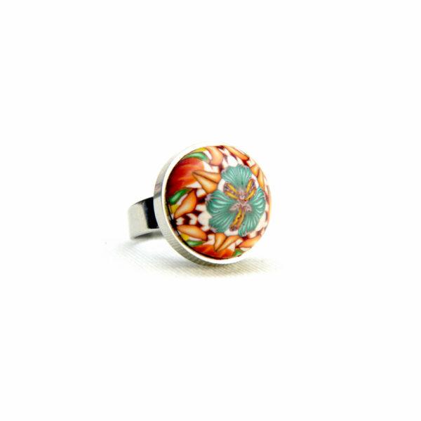 Anillo, artesanal, artesanía, millefiori, caleidoscopio, colores, favorito, naranja