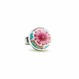Anillo, artesanal, artesanía, millefiori, caleidoscopio, colores, turquesa, flor, rosa