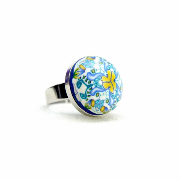 Anillo, artesanal, artesanía, millefiori, caleidoscopio, colores, turquesa, verano, azul, agua