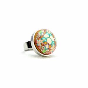 Anillo, artesanal, artesanía, millefiori, caleidoscopio, colores, turquesa, volumen