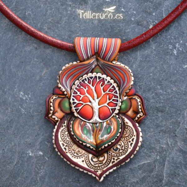 Collar colgante arcilla polimérica millefiori artesanía handmade hippie boho chic rojo naranja fuego árbol de la vida plata