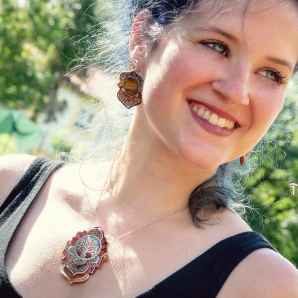 Collar colgante medallón necklace artesano artesanía handmade arte semipreciosa plata árbol de la vida rojo grande modelo