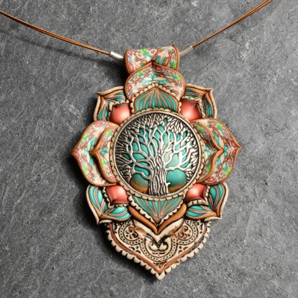 Collar colgante medallón necklace artesano artesanía handmade arte semipreciosa plata árbol de la vida verde jpg