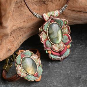 Collar colgante medallón necklace artesano artesanía handmade arte semipreciosa plata labradorita conjunto