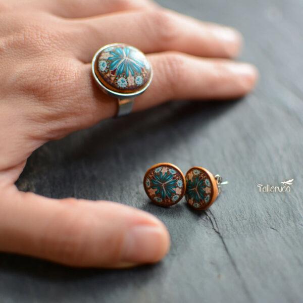 anillo artesanal arcilla polimérica acero ajustablre regulable millefiori calidoscopio