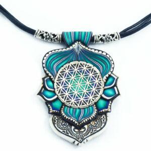 collar colgante artesnía cantabria handmade azul añil flo de la vida