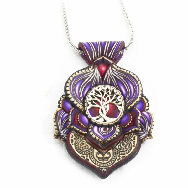 medallón colgante collar cuero arcilla polimérica flor largo artesanía handmade árbol de la vida plata azul