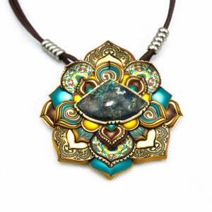 medallón colgante collar cuero arcilla polimérica flor largo artesanía handmade crisocola azul amarillo verano