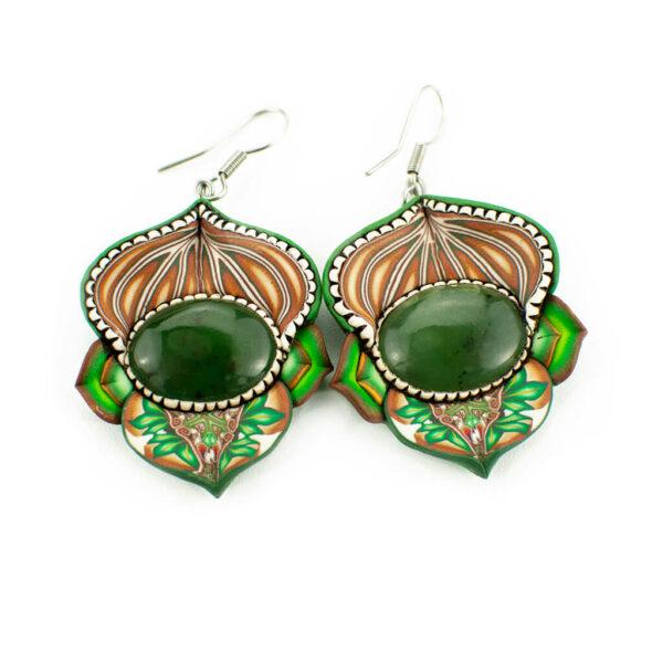 pendiene artesanal artesanía original única jade verde semipreciosa boho hippie chic