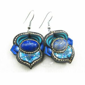 pendiene artesanal artesanía original única semipreciosa boho hippie chic lapislázuli azul
