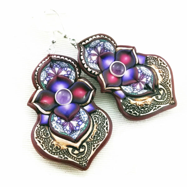 artesanal artesanía original única semipreciosa boho hippie chic ónix ónice amatista mini morado violeta lila