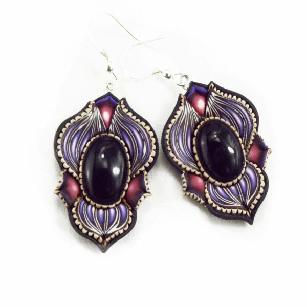 pendiene artesanal artesanía original única semipreciosa boho hippie chic ónix ónice morado violeta lila