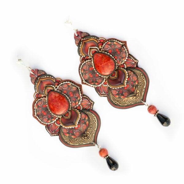 pendiene artesanal artesanía original única semipreciosa boho hippie coral manzana rojo