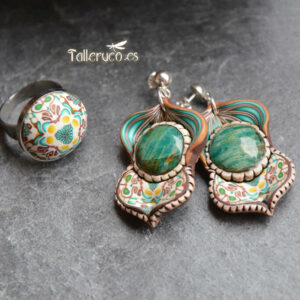 pendiene artesanal artesanía original única semipreciosa boho hippie crisocola turquesa