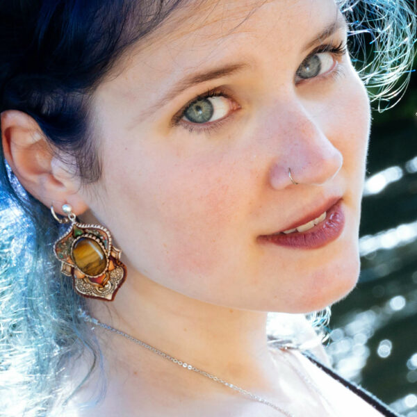 pendiene artesanal artesanía original única semipreciosa boho hippie naturalwoman ojodetigre
