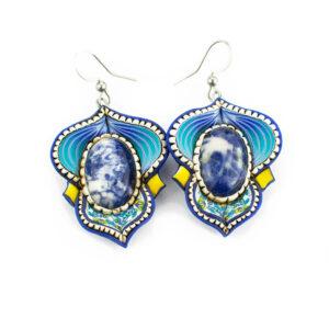 pendiene artesanal artesanía original única sodalita azul verano semipreciosa boho hippie chic