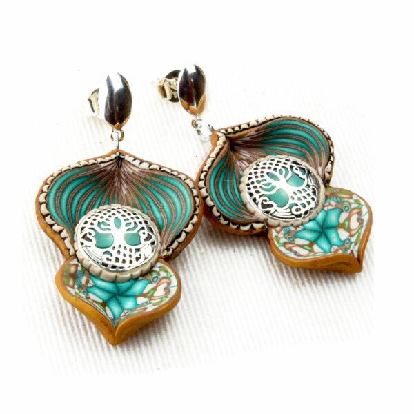pendientes artesanal artesanales plata símbolo árbol vida turquesa mini