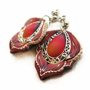 pendientes artesanal artesanales plata símbolo carmen rojo