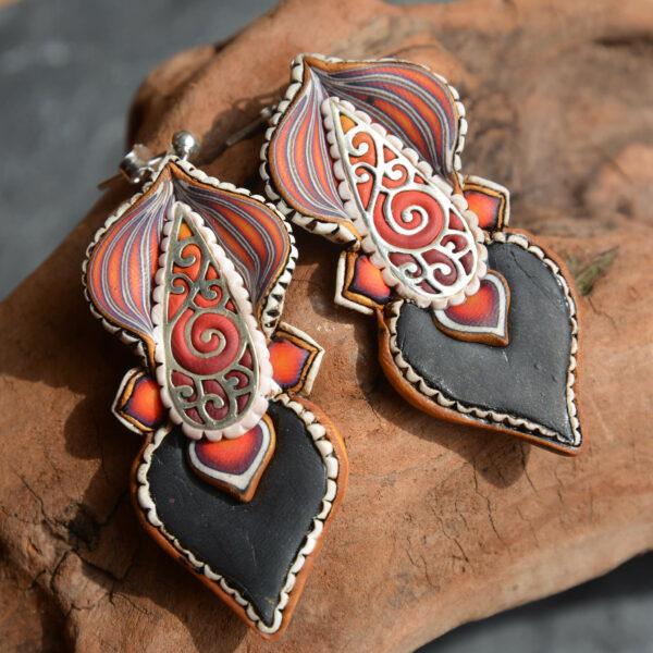 pendientes artesanal artesanales plata símbolo espiral fuego