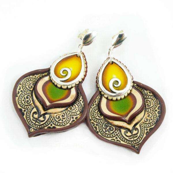 pendientes artesanal artesanales plata símbolo gota amarillo