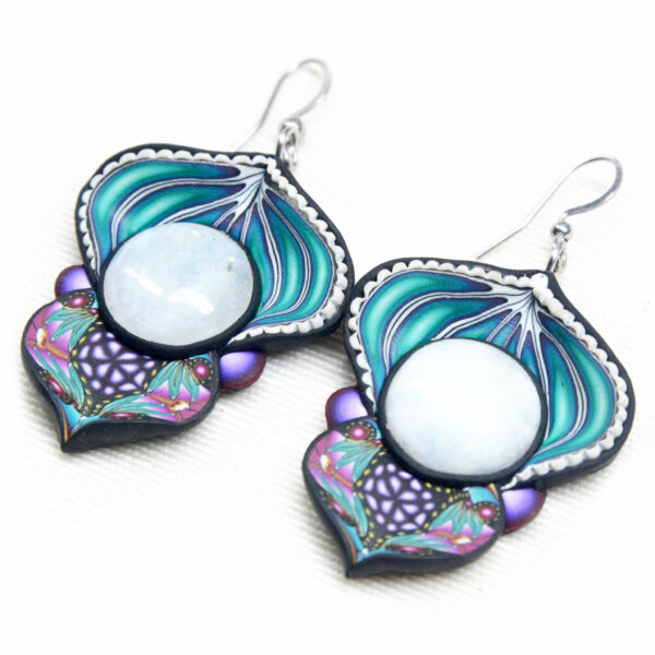 pendientes artesanales handmade semipreciosa piedra luna azul