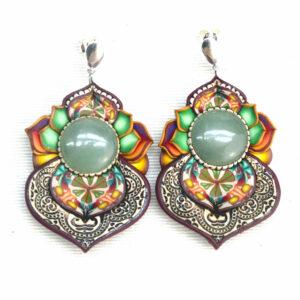 pendientes artesanía artesanal artesanos millefiori semipreciosa gema gemas colores cantabria handmade aventurina arcoiris