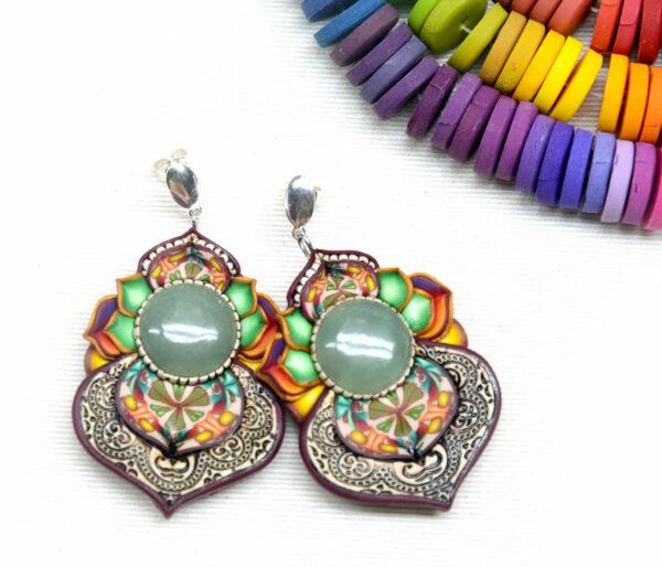 pendientes artesanía artesanal artesanos millefiori semipreciosa gema gemas colores cantabria handmade aventurina arcoiris muestras pantone paleta colores
