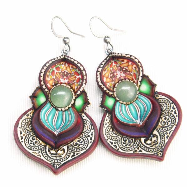 pendientes artesanía artesanal artesanos millefiori semipreciosa gema gemas colores cantabria handmade aventurina colores