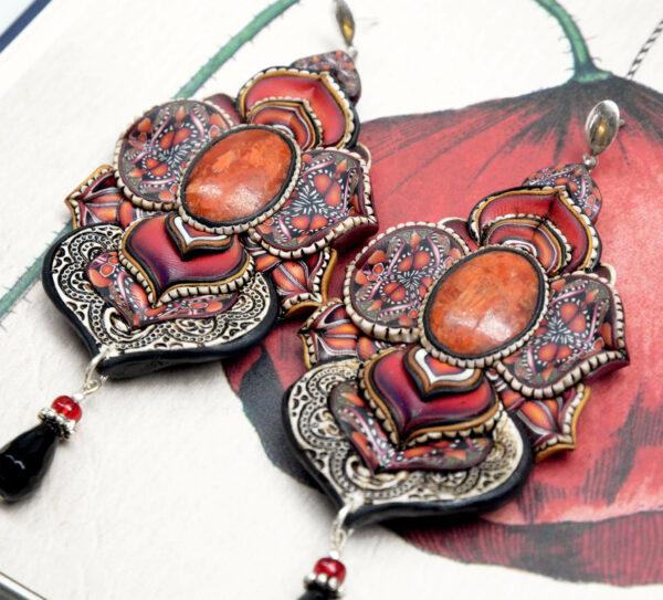 pendientes artesanía artesanal artesanos millefiori semipreciosa gema gemas colores cantabria handmade coral manzana