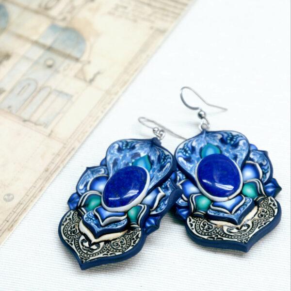 pendientes artesanía artesanal artesanos millefiori semipreciosa gema gemas colores cantabria handmade lapislázuli atrezzo