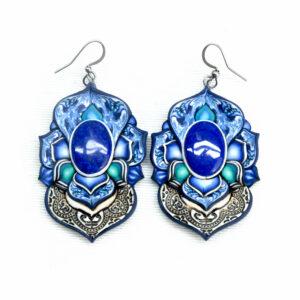 pendientes artesanía artesanal artesanos millefiori semipreciosa gema gemas colores cantabria handmade lapislázuli azul
