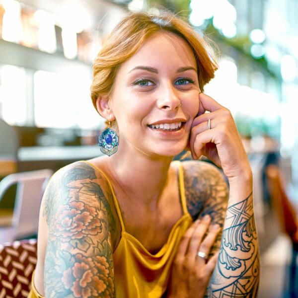 pendientes artesanía hippie boho hipster color azul lapislázuli