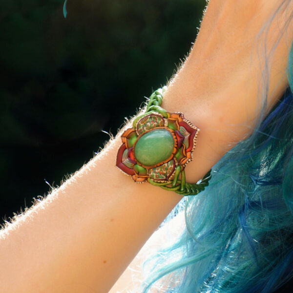 pulsera artesanal artesanía handmade millefiori semipreciosa gema magia amor hippie chic boho bohemian aventurina verde