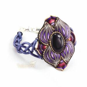 pulsera artesanal artesanía handmade millefiori semipreciosa gema magia amor hippie chic boho bohemian ónix onice ónice negro negra morada morado violeta lila