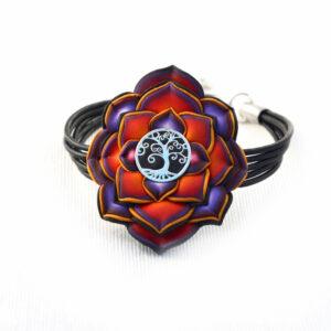 pulsera artesanal artesanía handmade millefiori semipreciosa gema magia amor hippie chic boho bohemian simbolo plata árbol de la vida rojo