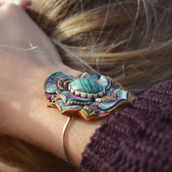 pulsera artesanal artesanía millefiori arcilla polimérica handmade love boho hippie amazonita