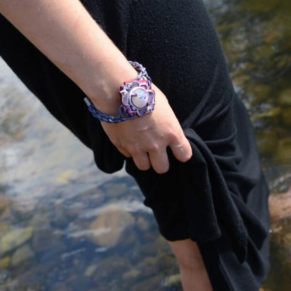 pulsera artesanal cantabria semipreciosa ágata morada rio