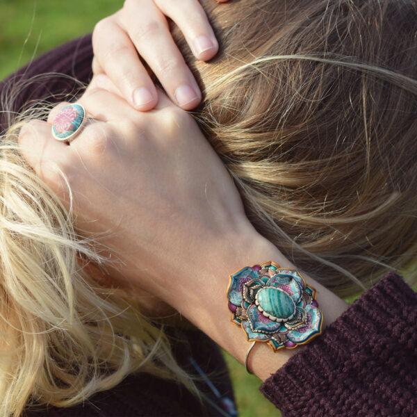 pulsera artesanal cantabria semipreciosa amazonita invierno modelo uno