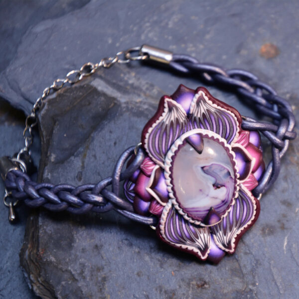 pulsera artesanal cantabria semipreciosa morada